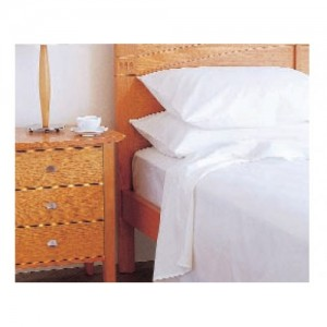 King Single Fitted Sheet 50/50 Poly Cotton - White with black under stitch for ID
