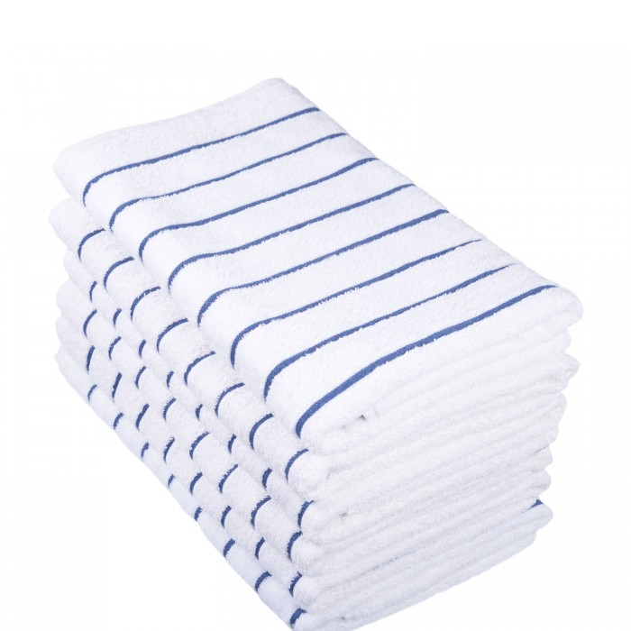 Towel - Pool Towel - Blue Weft Stripe 76 x 177cm