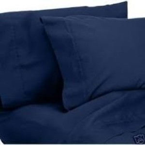 Single Flat Sheet 50 / 50 Poly Cotton - Navy